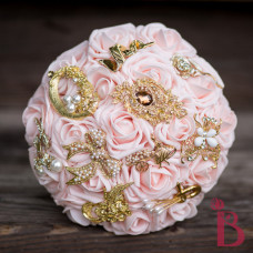 Silk Brooch Bouquet With Roses Gold Brooches Blush Pastel Pink Flowers