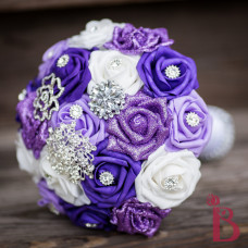 brooch wedding bouquet broach bridal purple lavender lilac artificial handmade quality flowers