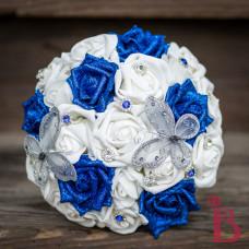 royal blue silver butterflies wedding bouquet