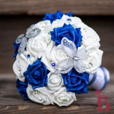 Royal Blue Silver Erflies Wedding Bouquet Silk Horizon Sapphire