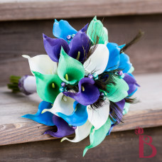 peacock wedding bouquet silk flower calla lily pearls peacock eye feathers