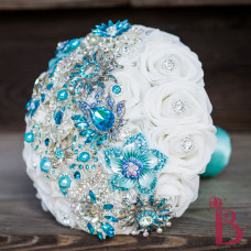brooch wedding bouquet aqua tiffany blue turquoise white roses gems bridal silk bouquet