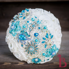 brooch strip bouquet aqua blue tiffany turquoise teal wedding