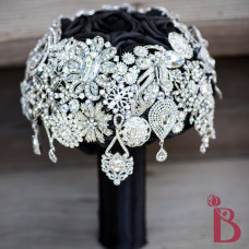 cascading dangly brooch bouquet wedding broach silver black roses