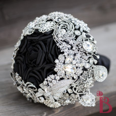 modern wedding bouquet brooches silver elegant high class glamorous