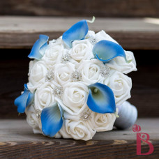 blue white silk wedding bouquet winter wonderland snowflakes