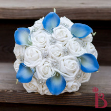 snowflake wedding bouquet blue lilies white roses