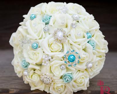 tiffany blue wedding brooch bouquet silk flowers ivory roses