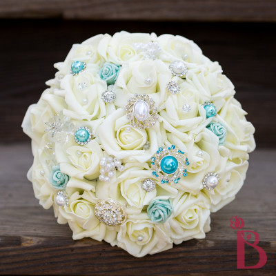 tiffany blue wedding brooch bouquet silk flowers ivory roses