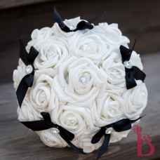 white black wedding bouquet silk artificial flowers gems