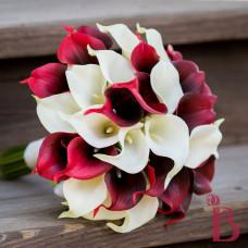dark red ivory calla lily bouquet