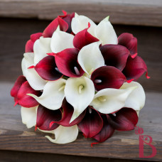 burgundy ivory real touch calla lily wedding bridal bouquet silk flowers