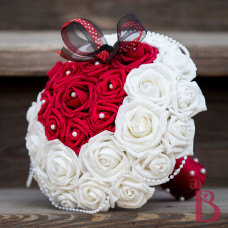 minnie mouse disney inspired wedding bouquet red white pearls black minny