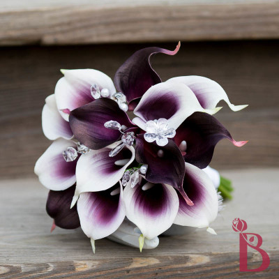 purple real touch bridesmaid wedding bouquet