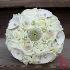 seashell pearls sea urchin beach wedding bouquet