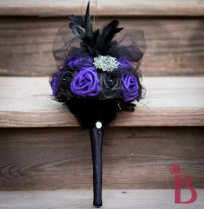 purple black silk wedding bouquet goth elegant birdcage tulle brooch feathers