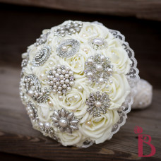 ivory brooch wedding bouquet pearl brooch lace chic vintage style