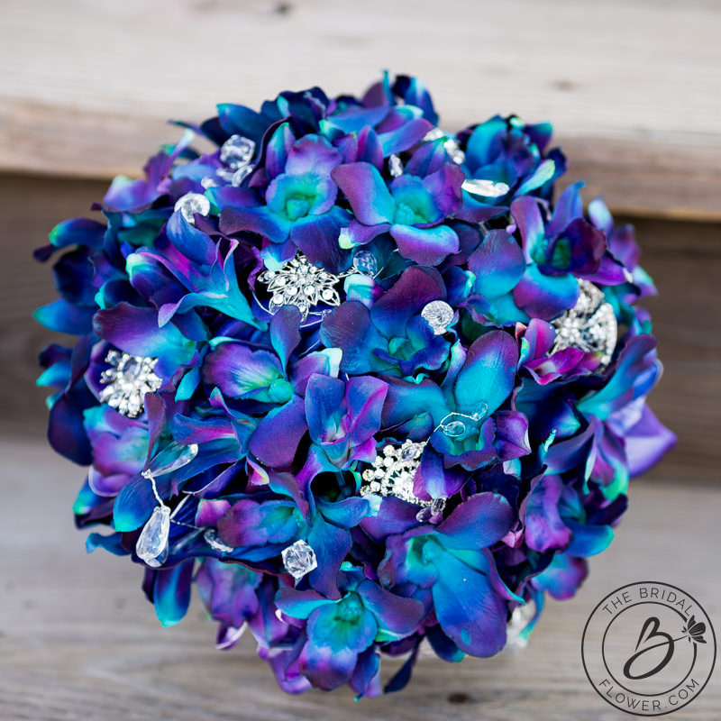 Purple Blue Galaxy Orchid Wedding Bouquet The Bridal Flower Silk And Real Touch Bouquets