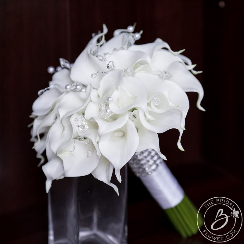 White Calla Lily Wedding Bouquet With Crystals And Pearls