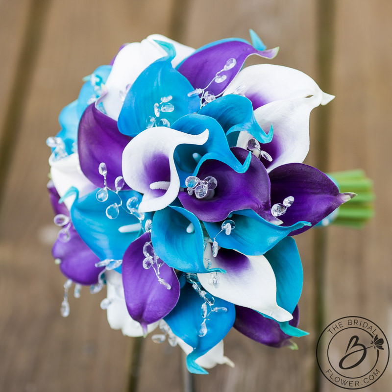 Purple And Turquoise Calla Lily Wedding Bouquet With Crystals The