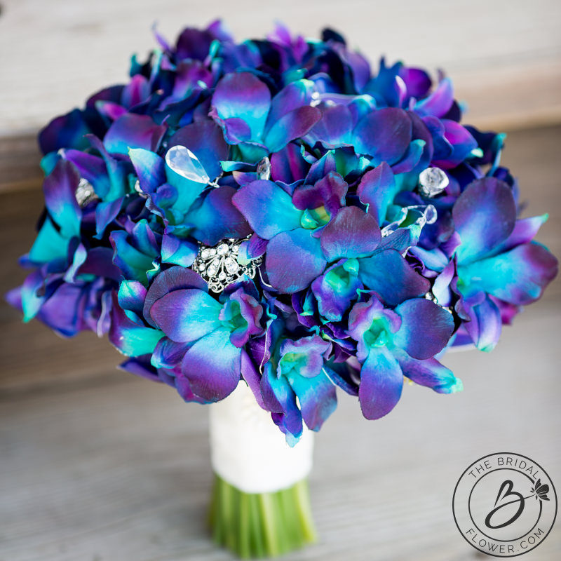 Purple blue Galaxy orchid wedding bouquet – Real touch wedding ...