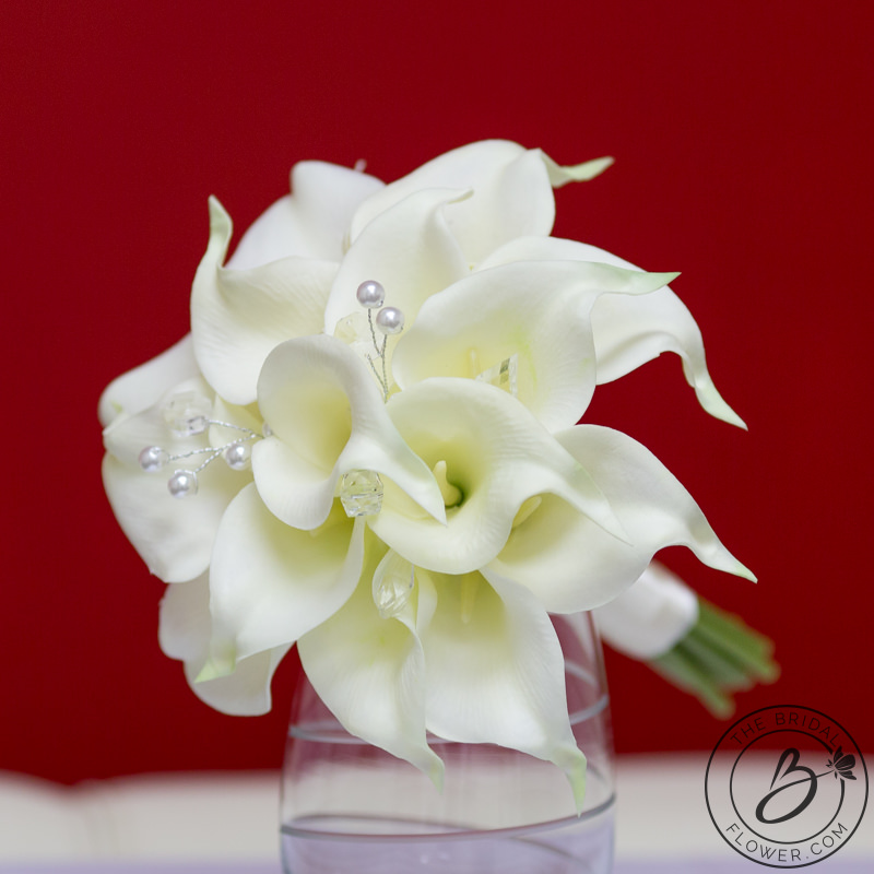 60394ff022e896 Ivory calla lily bridesmaid bouquet with crystals and pearls – The ...