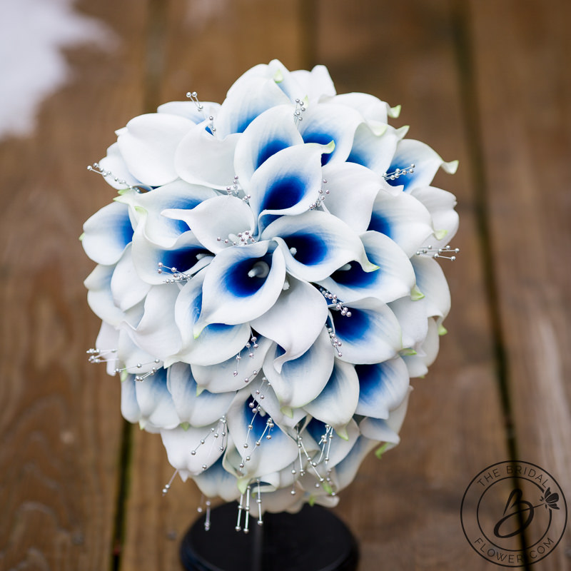Royal Blue And Silver Wedding Flowers: Blue Calla Lily Cascading Bouquet With Silver Pearls