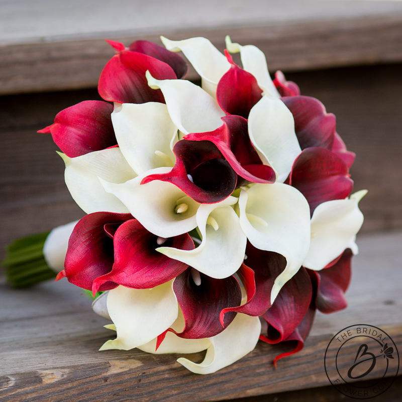 Dark Red And Ivory Simple Calla Lily Bouquet The Bridal