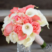 Coral and ivory wedding bouquet roses and calla lilies the bridal coral and ivory wedding bouquet roses and calla lilies mightylinksfo