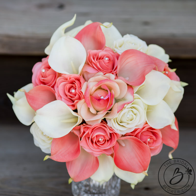 Coral and ivory wedding bouquet roses and calla lilies – The Bridal ...