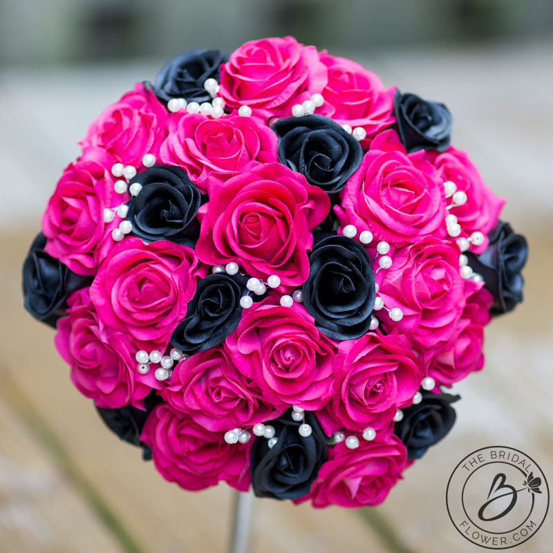Hot pink and black artificial flowers flowers healthy fuchsia pink and black bouquet with pearls the bridal flower silk and real touch wedding bouquets mightylinksfo