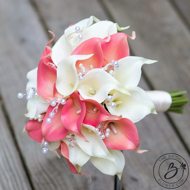 Tropical Coral And Ivory Calla Lily Bouquet Set The Bridal