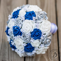Royal blue and silver wedding bouquet with baby\'s breath – The ...