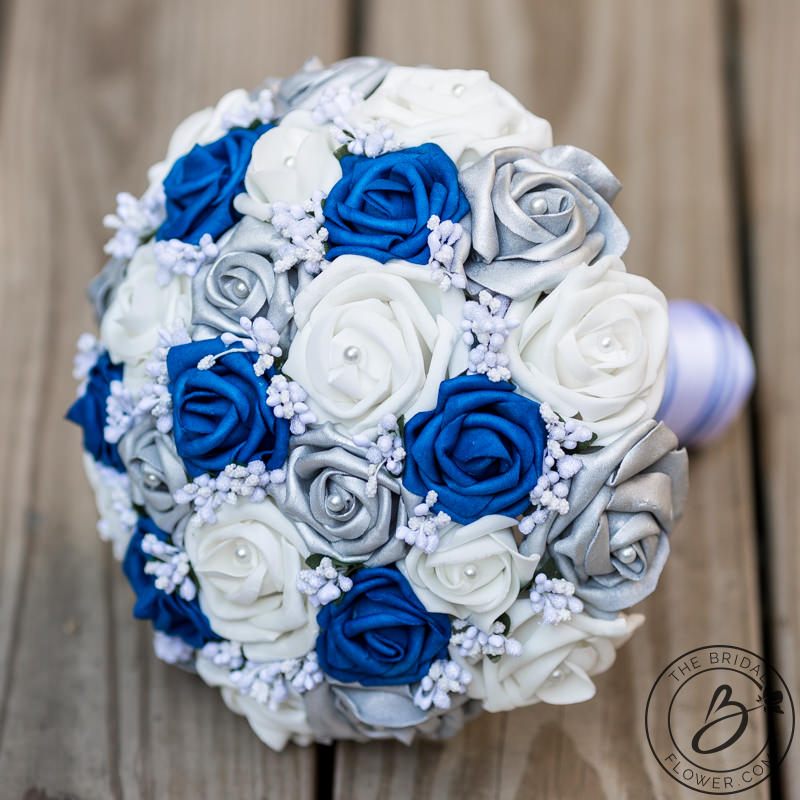 Royal blue and silver wedding bouquet with baby\'s breath – Real ...