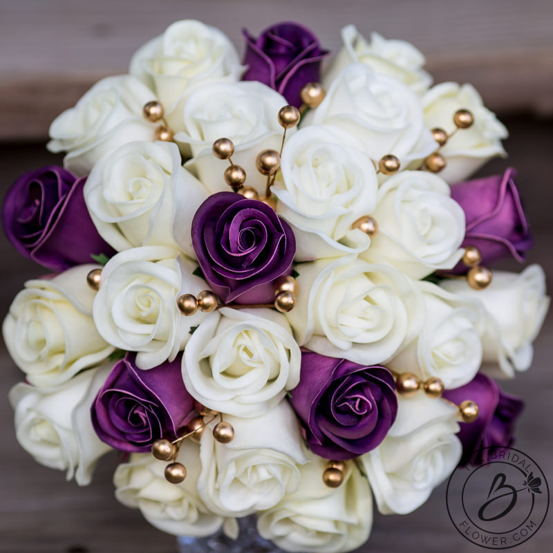 plum purple and gold real touch wedding bouquet the bridal flower silk and real touch. Black Bedroom Furniture Sets. Home Design Ideas