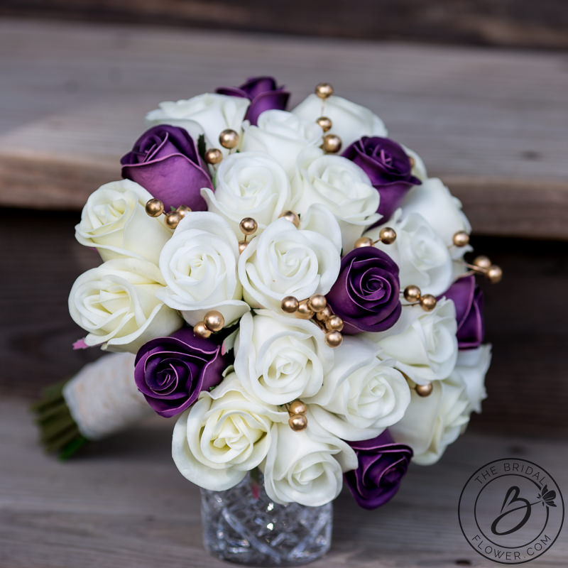 Plum Purple And Gold Real Touch Wedding Bouquet The