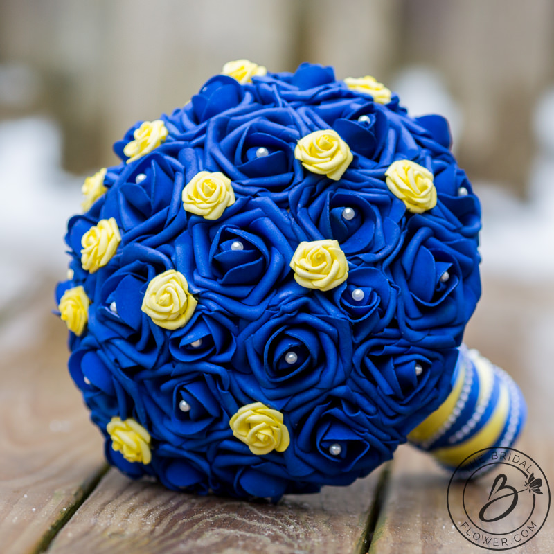 Blue And Yellow Beauty And The Beast Wedding Bouquet The Bridal
