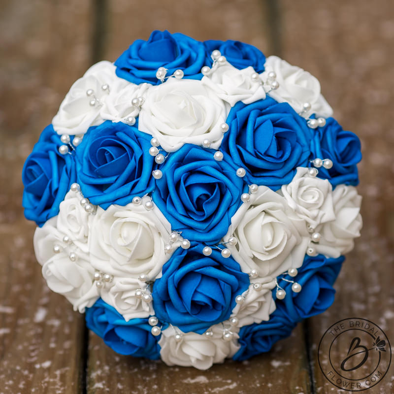 royal blue and white wedding bouquet with pearls the bridal flower silk and real touch. Black Bedroom Furniture Sets. Home Design Ideas