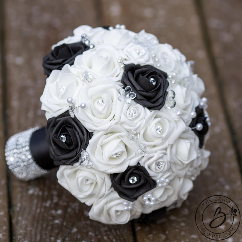 Black And White Wedding Bouquet With Crystals The Bridal Flower