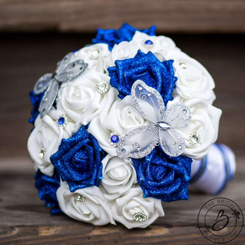 butterfly wedding bouquet with royal blue glitter roses the bridal flower silk and real. Black Bedroom Furniture Sets. Home Design Ideas