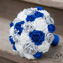 Royal blue and silver wedding bouquet with crystals – The Bridal ...