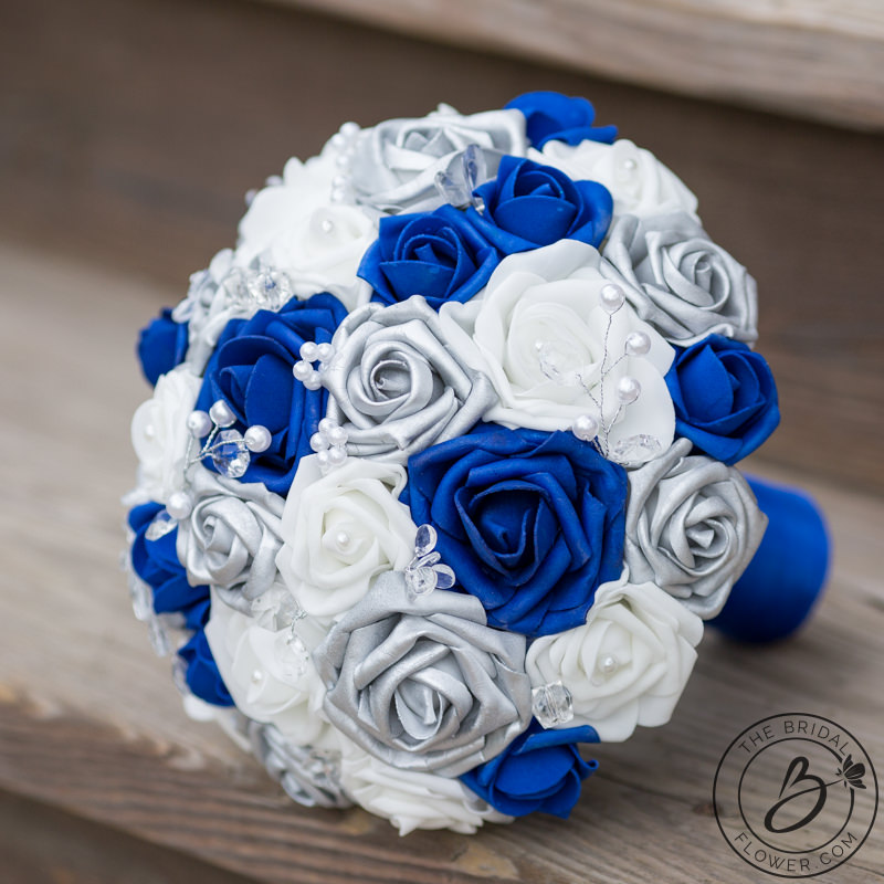 Royal blue and silver wedding bouquet with crystals – Real touch ...