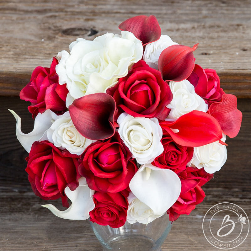 Red and ivory real touch flowers wedding bouquet – The Bridal Flower ...