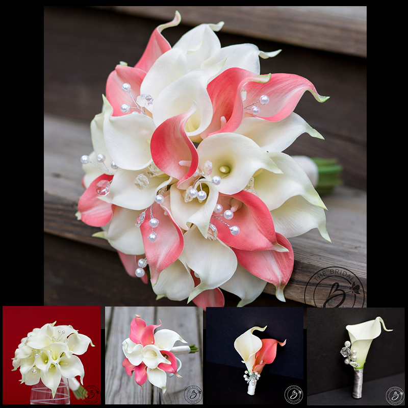Calla lily wedding bouquet set with crystals – build your own ...