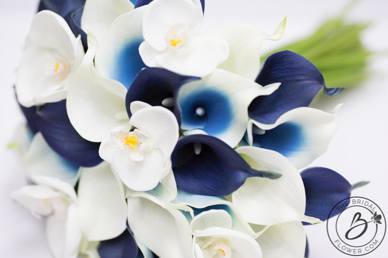 Navy wedding bouquet with calla lilies and orchids the bridal beautiful real touch orchids scattered between navy and custom blue center calla lilies mightylinksfo