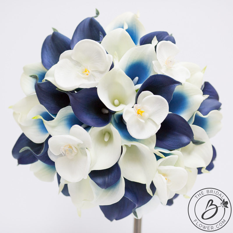 Navy And White Color Combination Of A Popular Bouquet With Calla Lilies Orchids Beautiful Real Touch Scattered Between Custom Blue