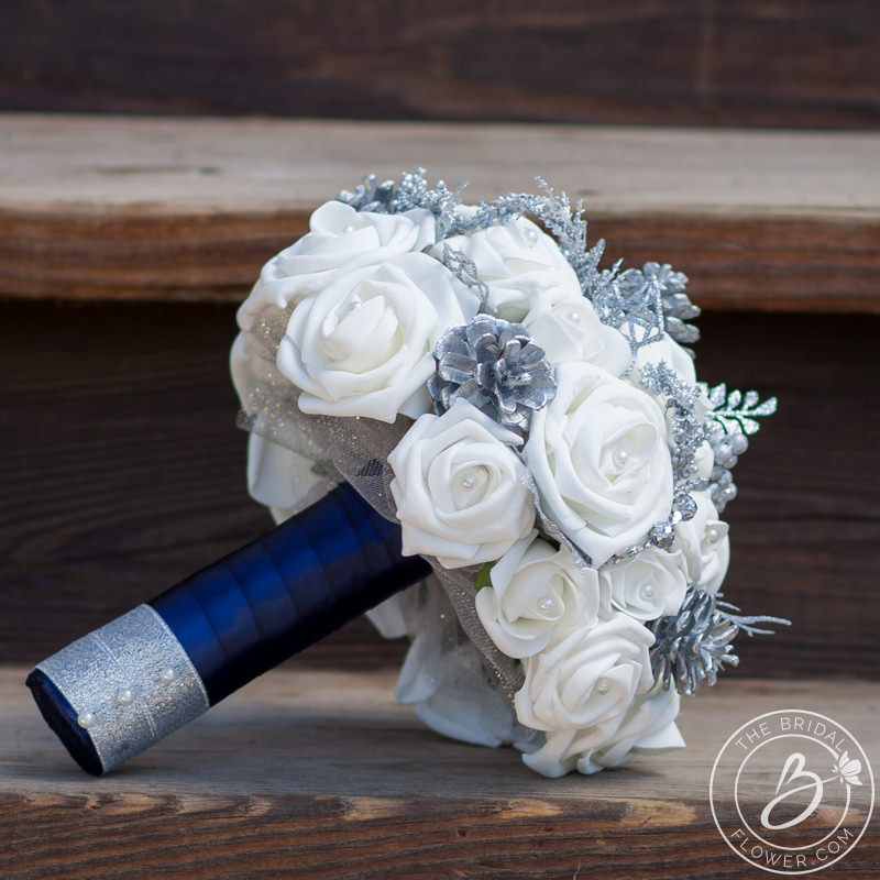 white and silver winter wonderland wedding bouquet the bridal flower silk and real touch. Black Bedroom Furniture Sets. Home Design Ideas