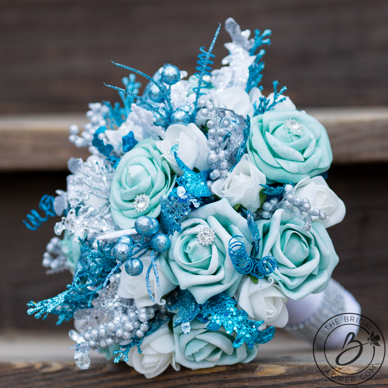 frozen inspired blue and white winter wonderland bouquet the bridal flower silk and real. Black Bedroom Furniture Sets. Home Design Ideas