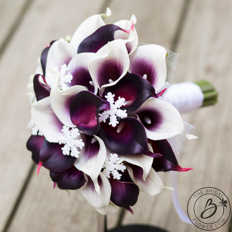 Plum Calla Lily Winter Wedding Bouquet With Snowflakes The