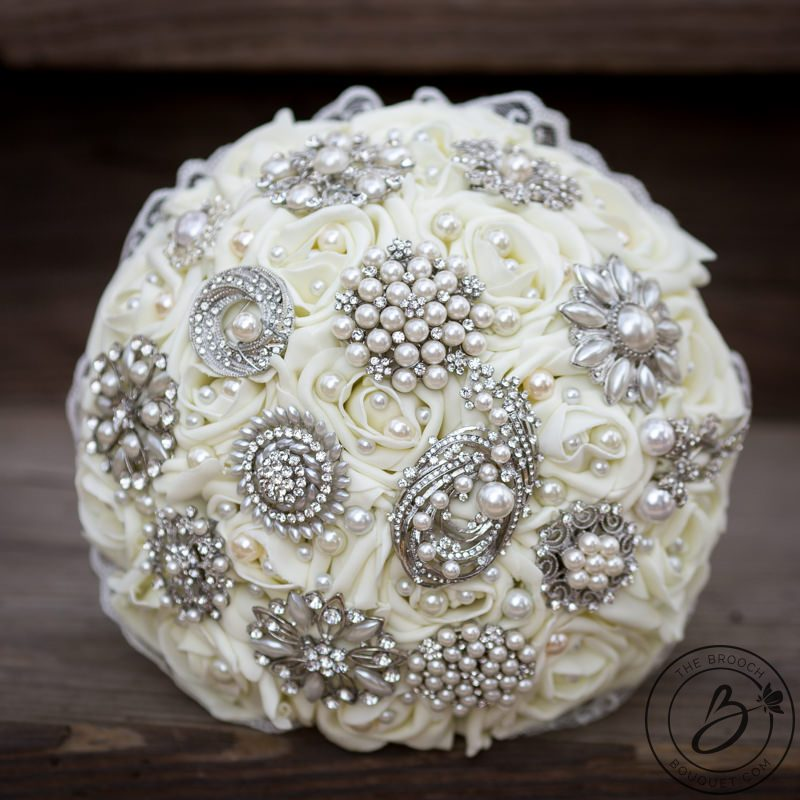 Vintage ivory brooch bouquet with lace – The Bridal Flower – silk ...